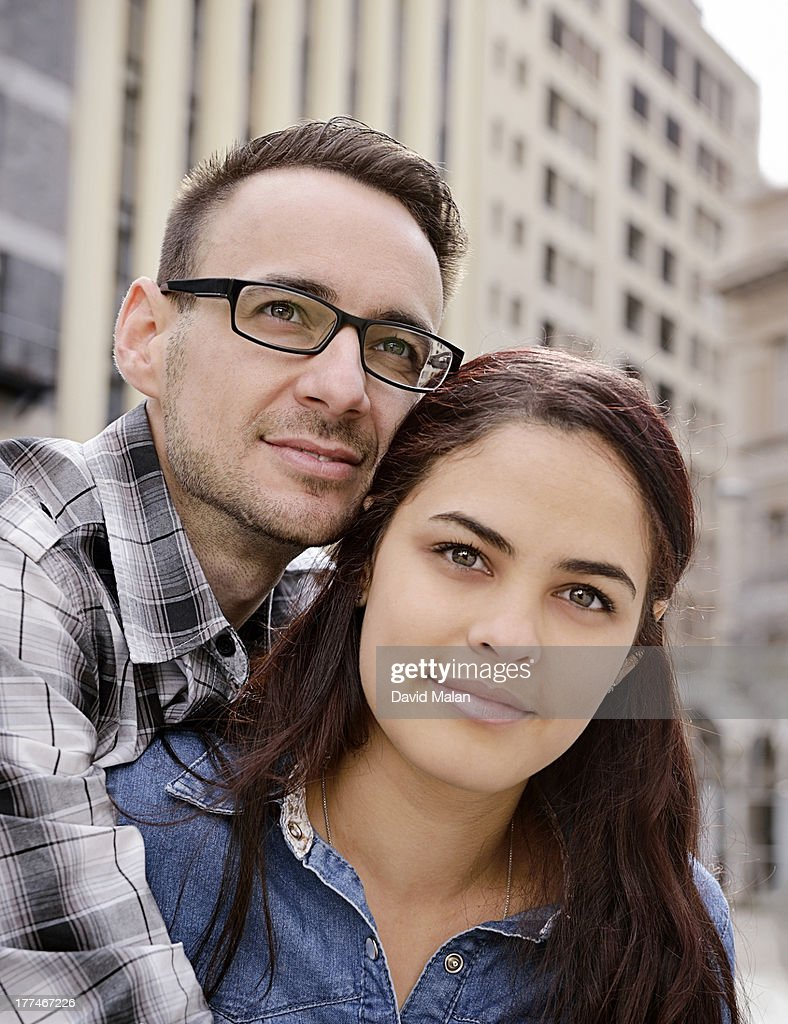 Portrait of a young adult couple in the city : Stock Photo