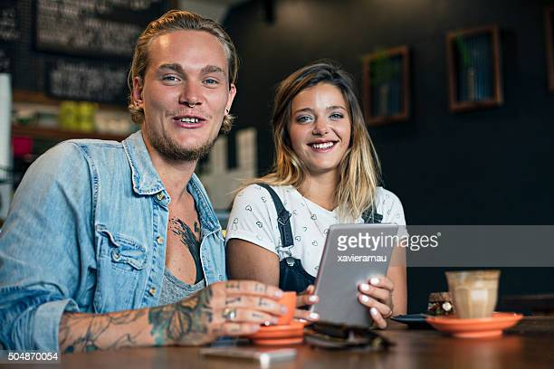 Portrait of a young Australian couple at a coffee shop
