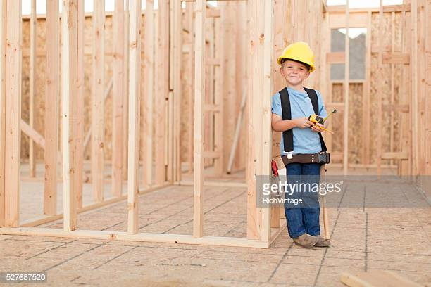 Portrait of a Young Boy dressed as Construction Worker
