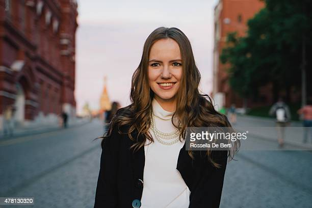 Portrait Of A Young Businesswoman Walking In A City Street