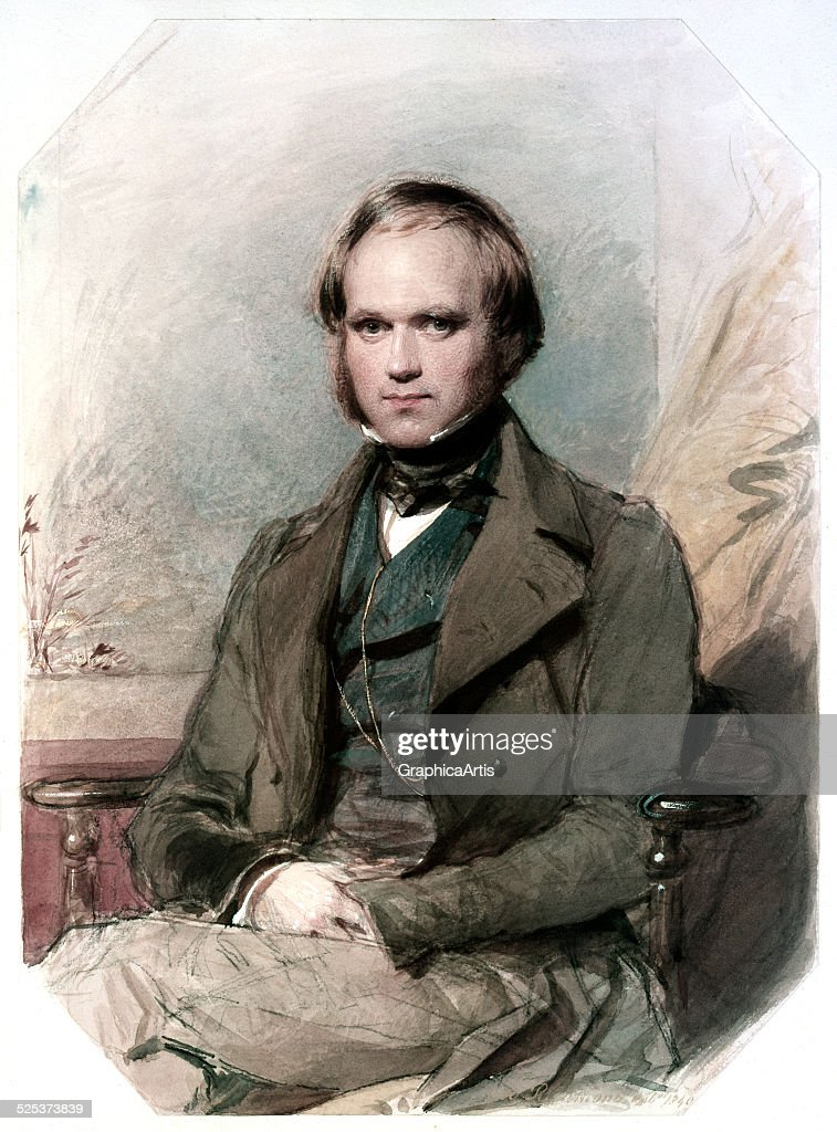 Portrait of a young Charles Darwin in 1840 watercolor and chalk on paper by George Richmond 1840