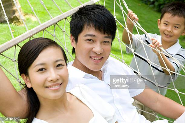 Portrait of a young couple in a hammock