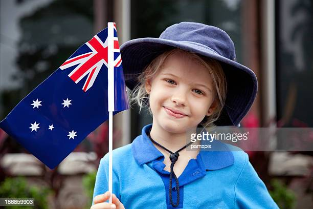 Portrait of a young girl with an Australian Flag