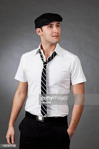 Porträt einer jungen griechisch Mann auf Grau