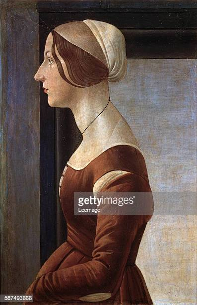 Portrait of a young lady Painting by Alessandro di Mariano dei Filipepi called Sandro Botticelli 1475 ca Dim 61x40 cm Florence Galleria Palatina