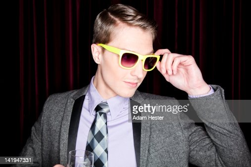 Portrait of a young man at night in a club. : Bildbanksbilder