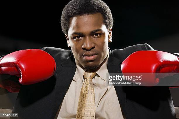 Portrait of a young man in a boxing ring