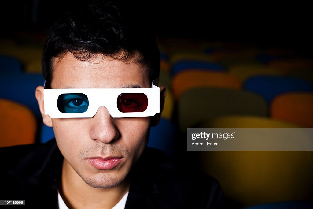 Portrait Of A Young Man Wearing 3d Glasses Stock Photo ...