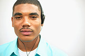 Portrait of a young man wearing headphones