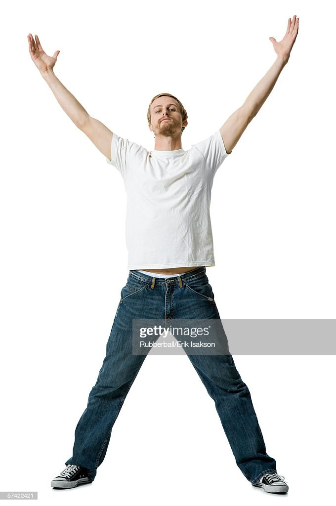Portrait of a young man with his arms outstretched