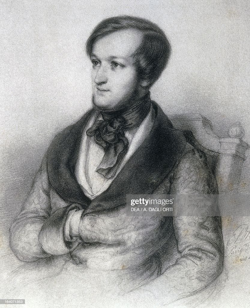 Portrait of a young <a gi-track='captionPersonalityLinkClicked' href=/galleries/search?phrase=Richard+Wagner+-+Composer&family=editorial&specificpeople=118790 ng-click='$event.stopPropagation()'>Richard Wagner</a> (Leipzig, 1813-Venice, 1883), German composer, drawing by Ernst Benedikt Kietz (1815-1892), 1842. Bayreuth, Richard-Wagner-Museum