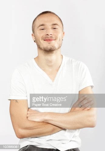 Portrait of a young rock musician in the studio : Stock Photo