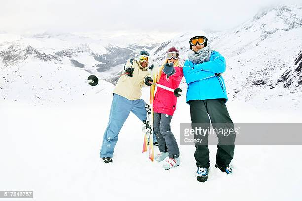 Portrait of a young skiing team