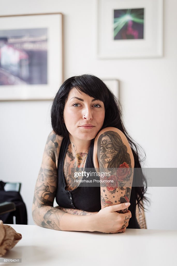 Portrait Of  A Young Tattooed Woman : Stock Photo