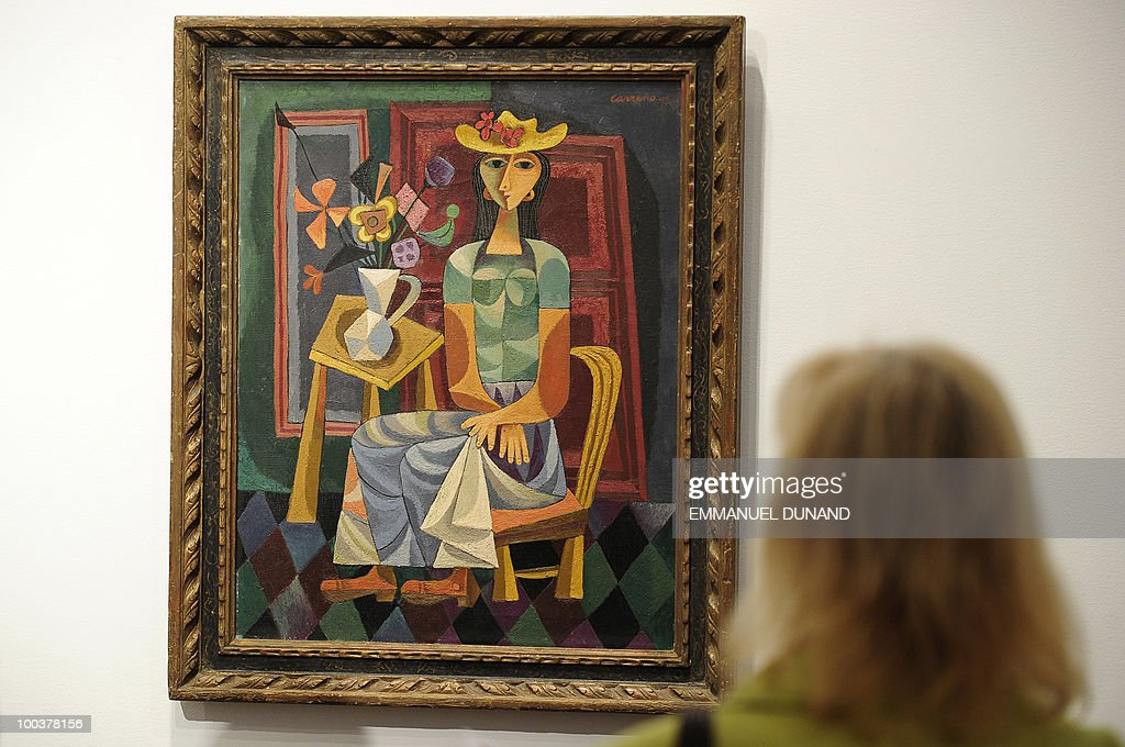 'Portrait of a Young Woman' by Mario Carreno is on display during a preview of Christie's Latin American Art auctions, May 24, 2010 in New York. Christie's will hold its Latin American Art auctions on May 26 and 27, 2010. AFP PHOTO/Emmanuel Dunand