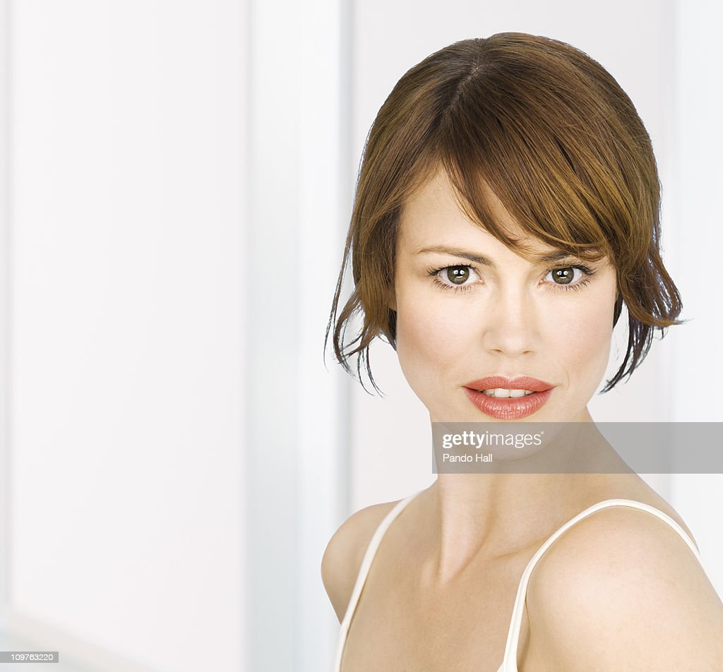 Portrait of a young woman, close-up : Stock Photo
