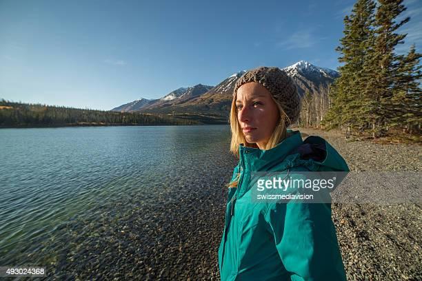 Porträt einer jungen Frau Betrachtung des Natur