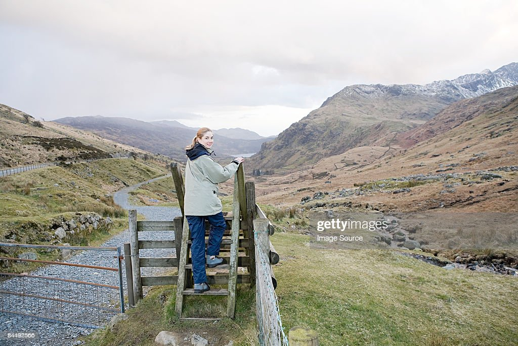 Portrait of a young woman on a stile : Stock Photo