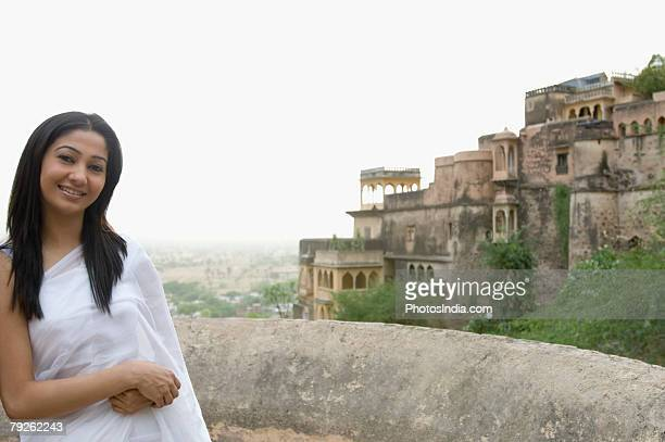 Portrait of a young woman smiling, Neemrana Fort, Alwar, Rajasthan, India