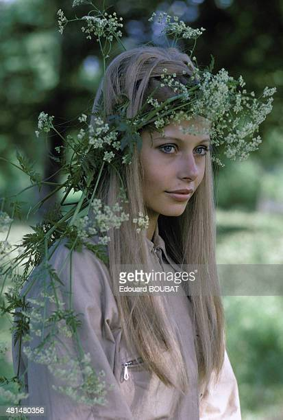 Portrait of a young woman with a wreath Sweden in 1970