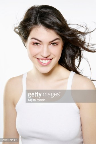Portrait of a Young Woman with Long Hair : Stock Photo