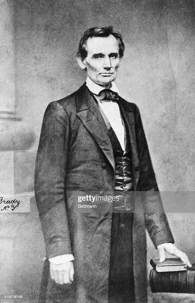 Portrait of <a gi-track='captionPersonalityLinkClicked' href=/galleries/search?phrase=Abraham+Lincoln&family=editorial&specificpeople=67201 ng-click='$event.stopPropagation()'>Abraham Lincoln</a> (1809-1865), known as the Cooper Institute portrait. Taken by Mathew Brady on February 27, 1860, it is one of the few full-length photographs of Lincoln before he became president.