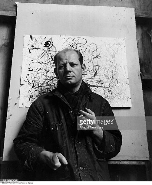 Portrait of Abstract Expressionist painter Jackson Pollock in his Long Island studio January 3 1949 in East Hampton New York