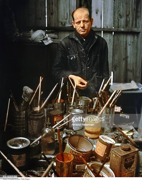 Portrait of abstract expressionist painter Jackson Pollock in his Long Island studio Springs East Hampton New York January 3 1949
