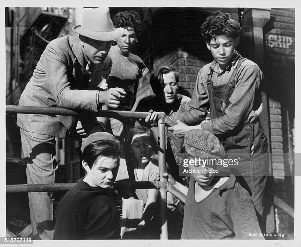 Portrait of acting group the 'Dead End Kids' in a scene from the movie 'Dead End' 1937