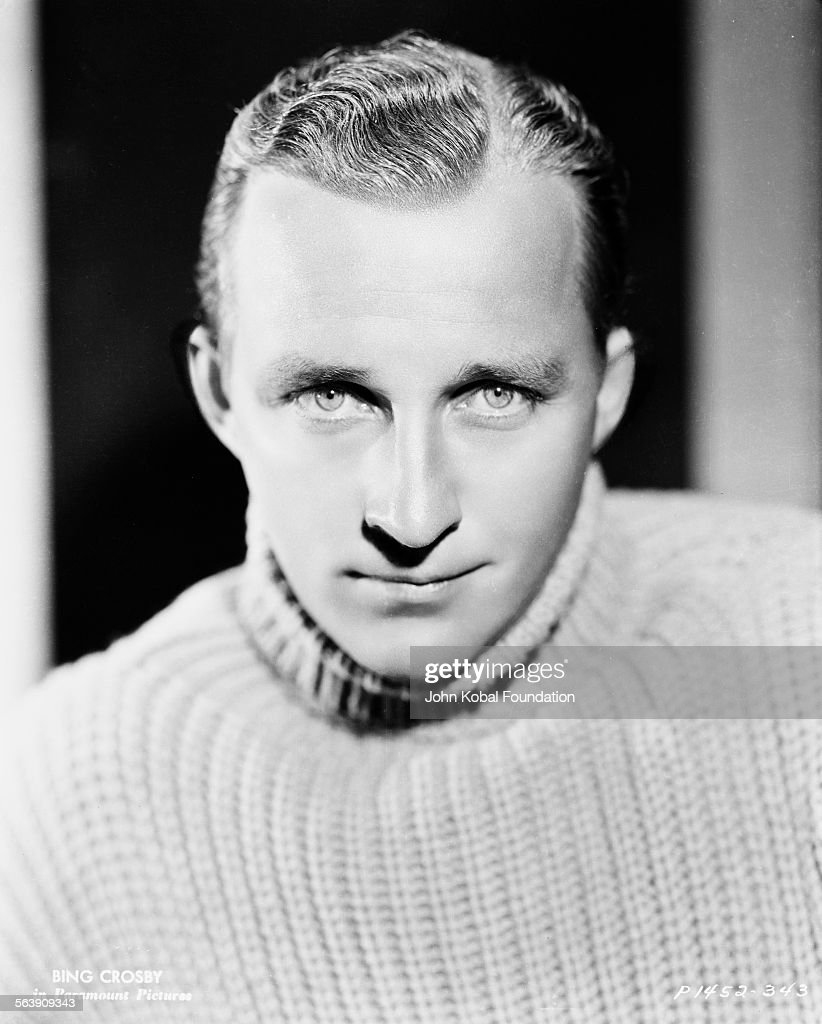 Portrait of actor <a gi-track='captionPersonalityLinkClicked' href=/galleries/search?phrase=Bing+Crosby&family=editorial&specificpeople=90412 ng-click='$event.stopPropagation()'>Bing Crosby</a> (1903-1977) wearing a turtle neck sweater, for Paramount Pictures, 1934.