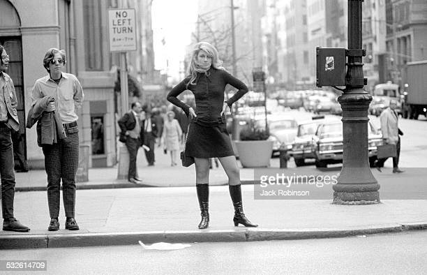 Portrait of actress and model Jane Holzer on a street New York New York late 1960s or early 1970s
