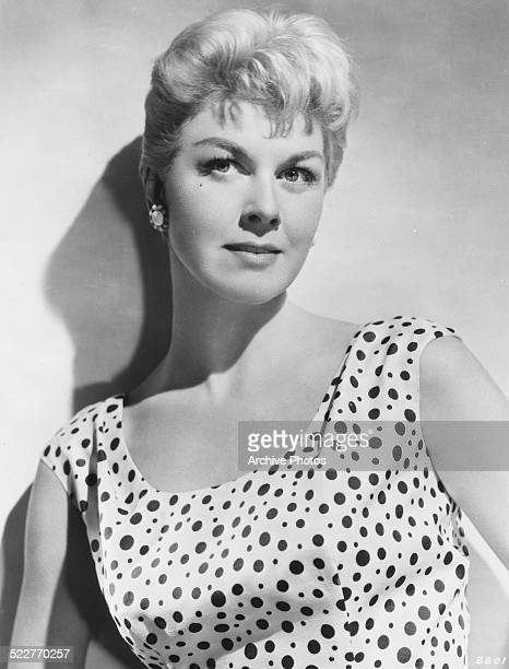 Portrait of actress and singer Doris Day wearing a polka dot dress circa 1950