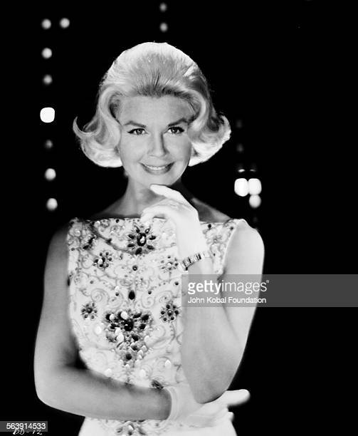 Portrait of actress Doris Day wearing a beaded dress for Warner Bros Studios 1951