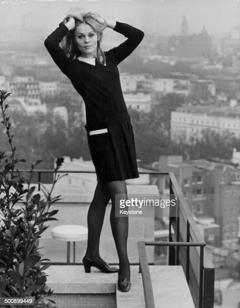 Portrait of actress Francoise Dorleac posing on the balcony of her hotel room London November 21st 1966