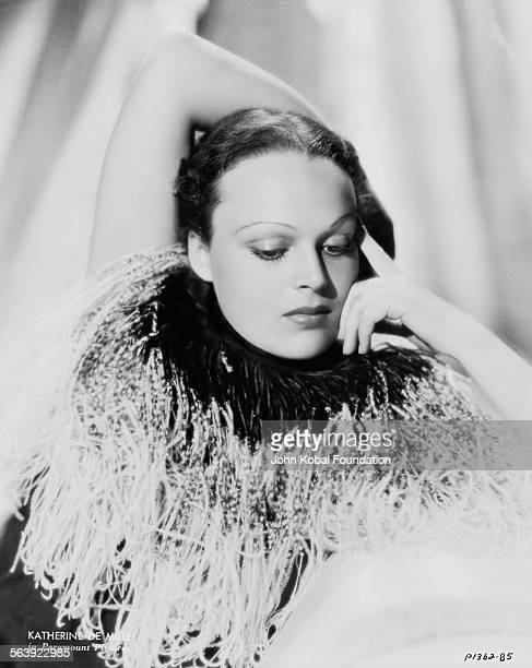 Portrait of actress Katherine DeMille wearing a feathered neck piece daughter of famous filmmaker Cecil B DeMille for Paramount Pictures 1935