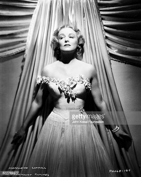 Portrait of actress Madeleine Carroll wearing a strapless dress with Paramount Pictures 1938