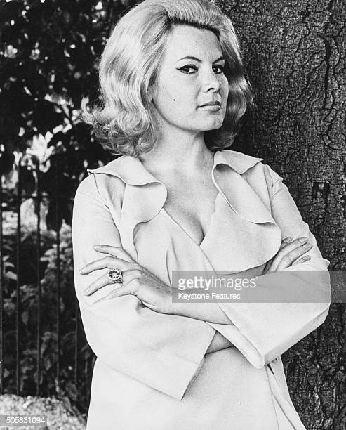 Portrait of actress Molly Peters former Bond girl in the film 'Thunderball' standing in a London park prior to her appearance in the West End England...