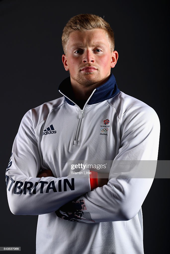 A portrait of <a gi-track='captionPersonalityLinkClicked' href=/galleries/search?phrase=Adam+Peaty+-+Swimmer&family=editorial&specificpeople=11074368 ng-click='$event.stopPropagation()'>Adam Peaty</a> a member of the Great Britain Olympic team during the Team GB Kitting Out ahead of Rio 2016 Olympic Games on June 29, 2016 in Birmingham, England.