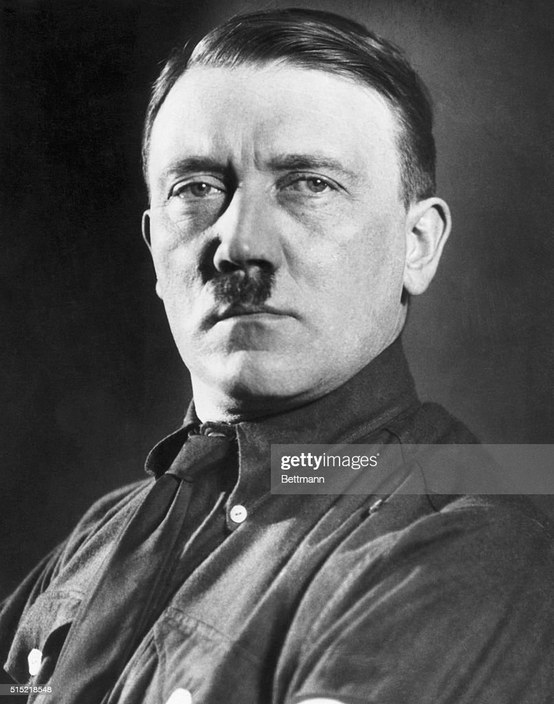Portrait of Adolf Hitler (1889-1945), head of of the Nazi party in Germany. Head and shoulders, full face. Undated.