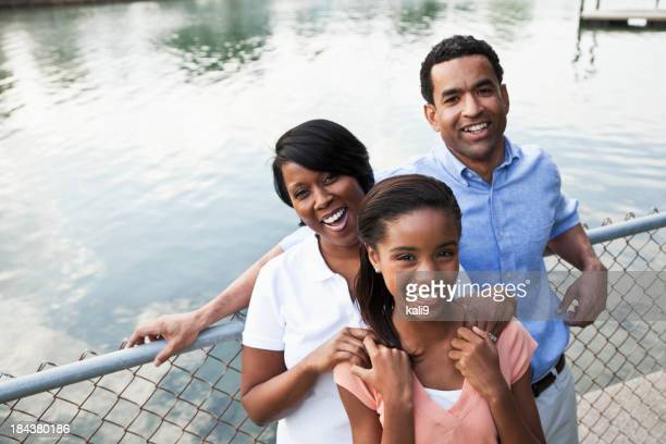 Portrait of African American girl with parents