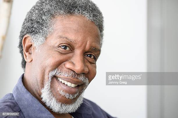 Portrait of African American man with grey beard and noustache