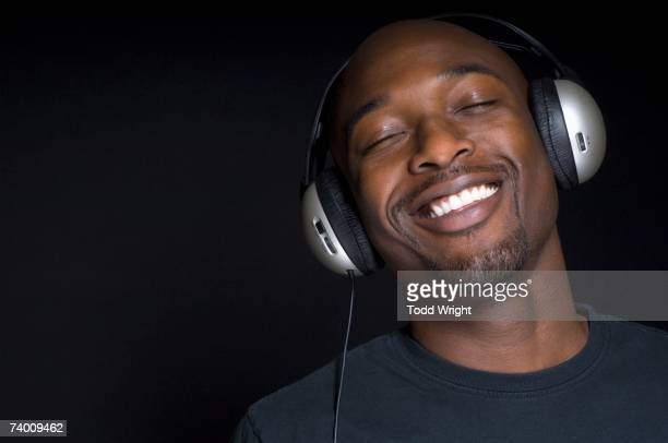Portrait of African man wearing headphones