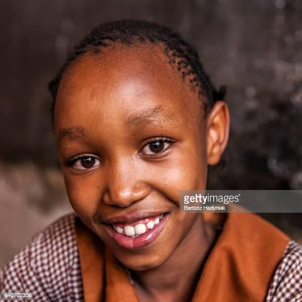 Portrait of African schoolgirl, orphanage in Kenya