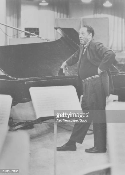 Portrait of AfricanAmerican composer pianist bandleader and Jazz musician Duke Ellington playing the piano Washington DC 1970