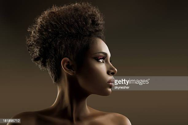 Portrait of African-American fashion model.
