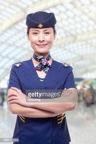 Portrait of air stewardess