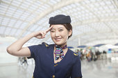 Portrait of Air Stewardess Winking