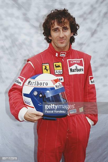 Portrait of Alain Prost of France driver of the Scuderia Ferrari SpA Ferrari 641 Ferrari V12 during pre season testing on 10th February 1990 at the...