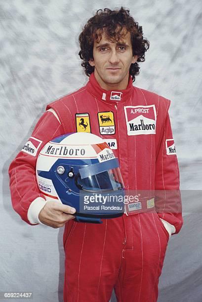 Portrait of Alain Prost of France driver of the Scuderia Ferrari SpA Ferrari 641 Ferrari V12 during pre season testing on 10 February 1990 at the...