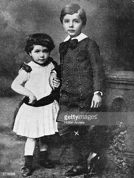 A portrait of Albert Einstein the mathematical physicist and his sister when very young